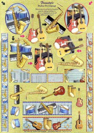 Freestyle Musical Instruments 3d Decoupage Sheet From Dufex